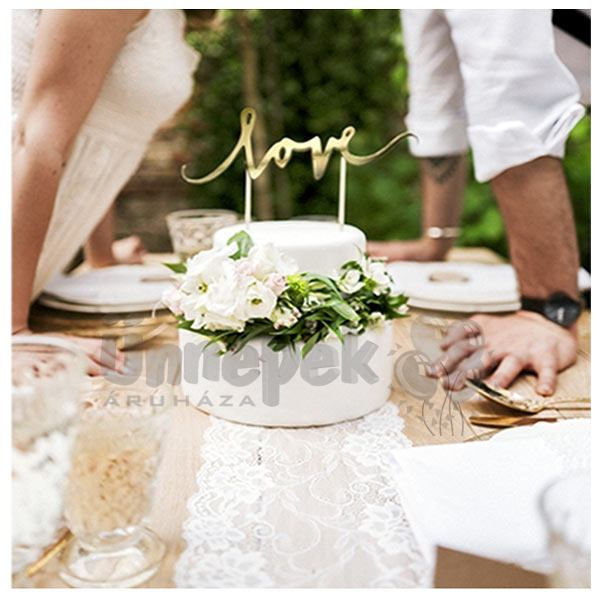 esküvői torta feliratok Aranyszínű LOVE Feliratos Dekoráció Pálcán esküvői torta feliratok