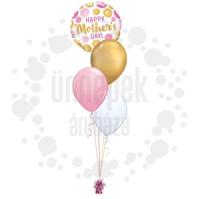 Arany Pink Pöttyös Csokor – Anyáknapi közepes léggömbcsokor