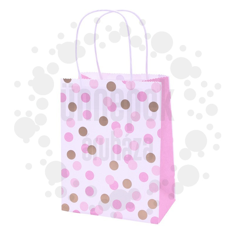 Arany Pink Színű Pöttyös Ajándéktasak - 15 cm x 20 cm, 4 db-os