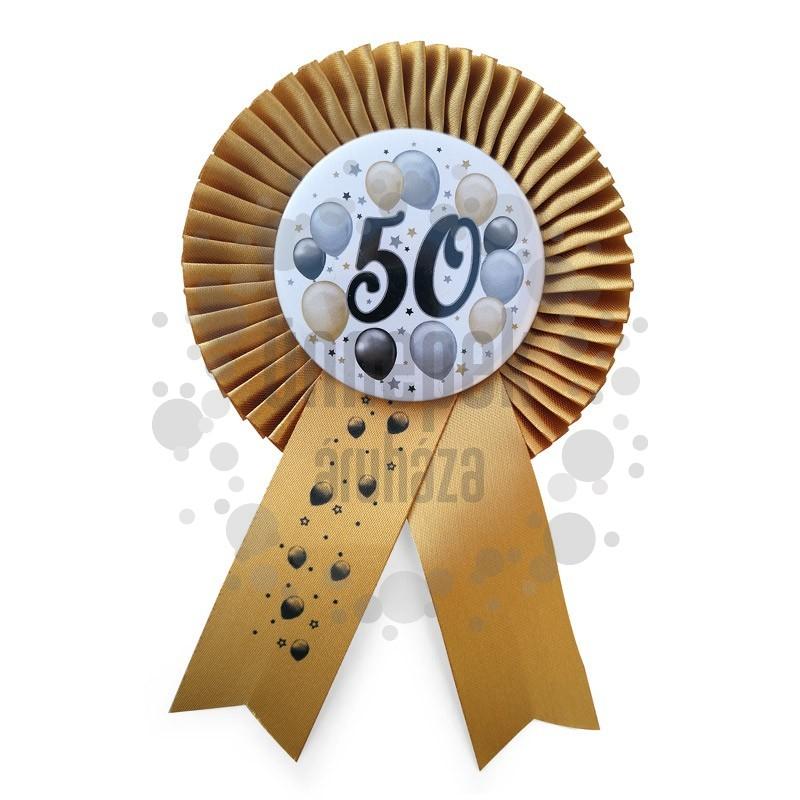 Arany Szalagos 50-es Elegáns Léggömbös Szülinapi Számos Parti Kitűző