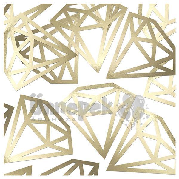 Aranyszínű Gyémánt Alakú Papír Konfetti, 12 db-os
