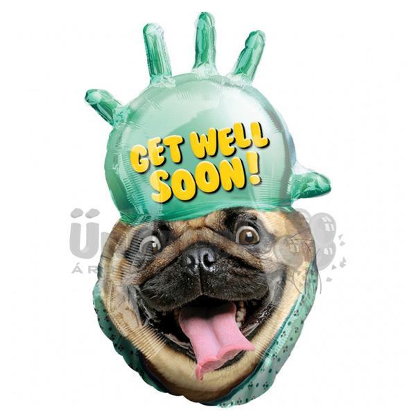 Avanti Get Well Soon Pug Super Shape Fólia Lufi