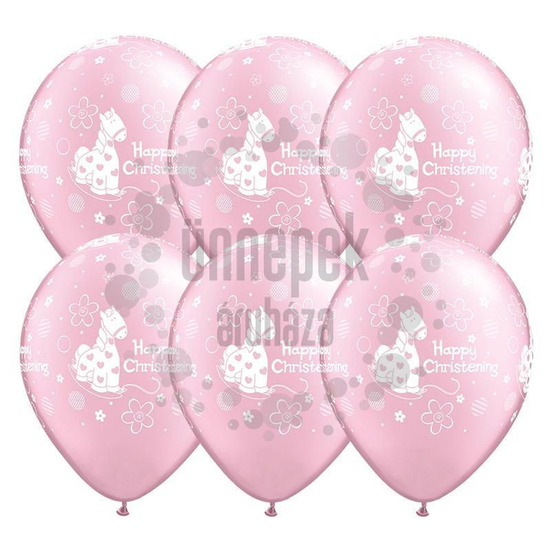11 inch-es Christening Soft Pony Pearl Pink Lufi Keresztelőre (25 db/csomag)