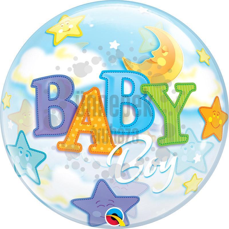 22 inch-es Baby Boy Moon és Stars Bubble Bébi Héliumos Lufi Babaszületésre
