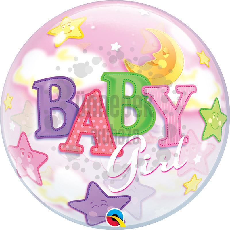 22 inch-es Baby Girl Moon és Stars Bubble Bébi Héliumos Lufi Babaszületésre