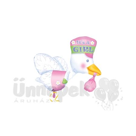 It is a Girl - Bundle of Joy Stork - Super Shape Héliumos Fólia Lufi Babaszületésre