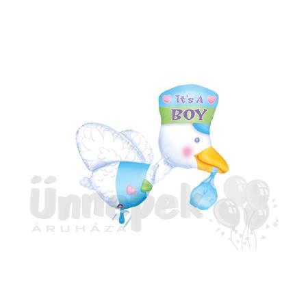 It is a Boy - Bundle of Joy Stork - Super Shape Héliumos Fólia Lufi Babaszületésre