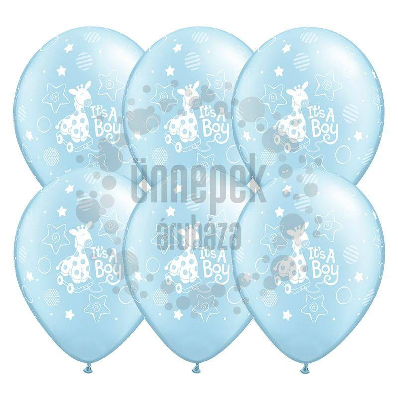 11 inch-es It is A Boy Soft Giraffe Pearl Light Blue Lufi (25 db/csomag)