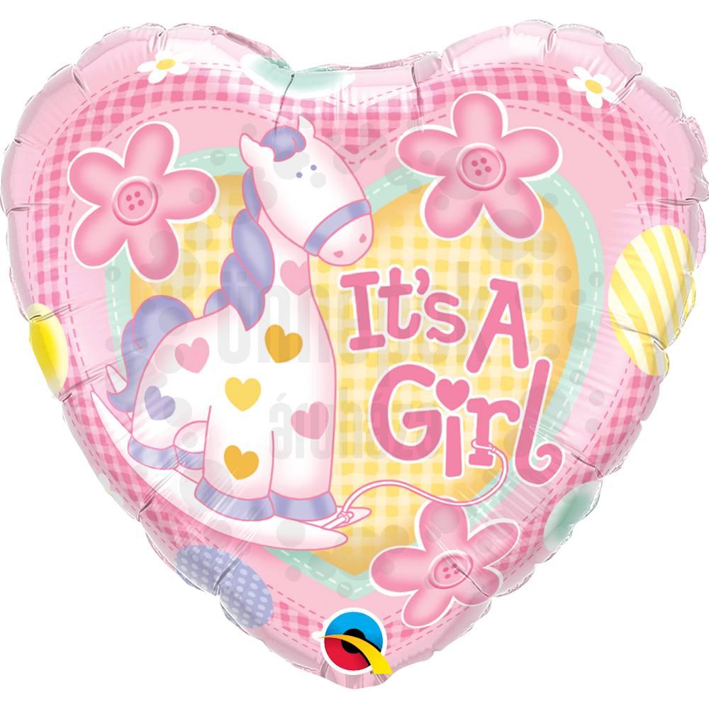 18 inch-es Lány Póni It is A Girl Soft Pony Baby Héliumos Fólia Lufi Babaszületésre