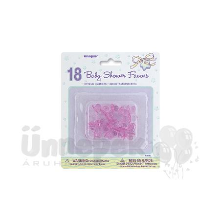 Kicsi Rózsaszín Műanyag Dekorációs Cumi - 18 db-os
