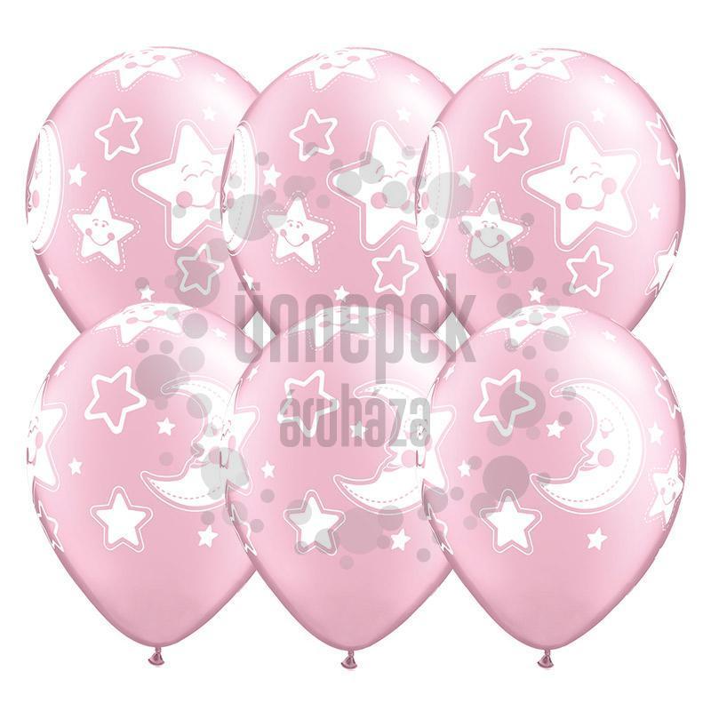 11 inch-es Baby Moon and Stars Pearl Pink Lufi Babaszületésre (25 db/csomag)