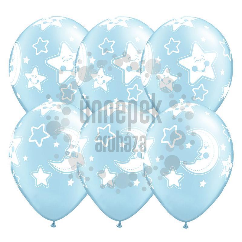 11 inch-es Baby Moon and Stars Pearl Light Blue Lufi Babaszületésre (25 db/csomag)