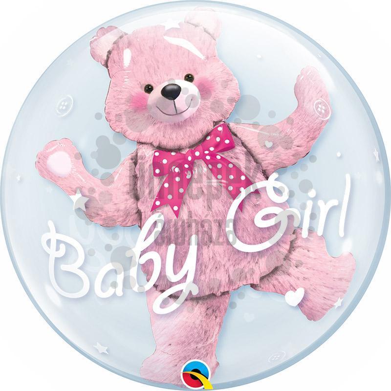 24 inch-es Baby Pink Bear Double Bubble Héliumos Lufi Babaszületésre