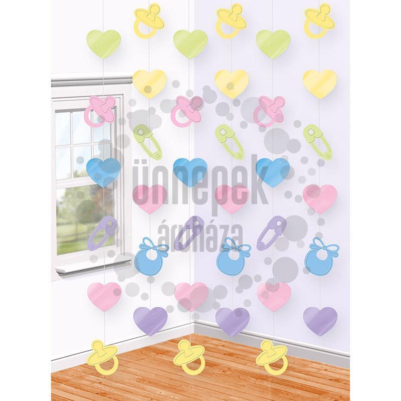 Baby Shower Parti Függő Dekoráció - 2 méter, 6 db-os