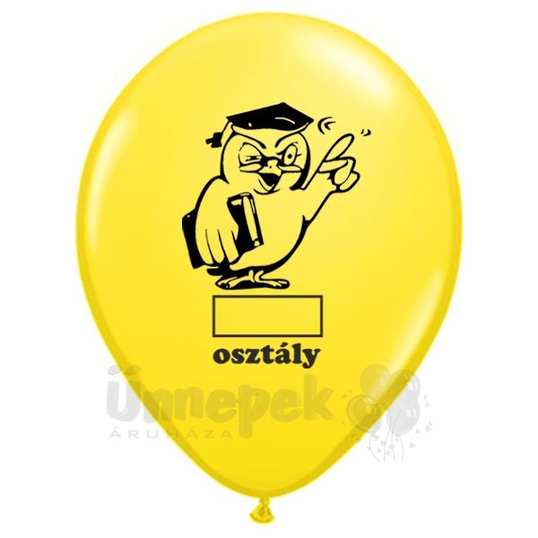 11 inch-es Bagoly Feliratozható Osztály Yellow Ballagási Lufi (25 db/csomag)
