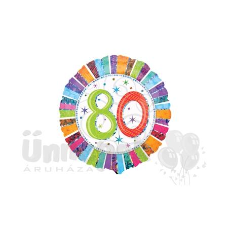 18 inch-es Radiant Birthday 80-as Születésnapi Héliumos Fólia Lufi