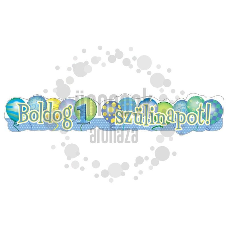 Boldog 1. Szülinapot! Léggömb Mintás Kék Fiús Banner - 148 cm x 27 cm