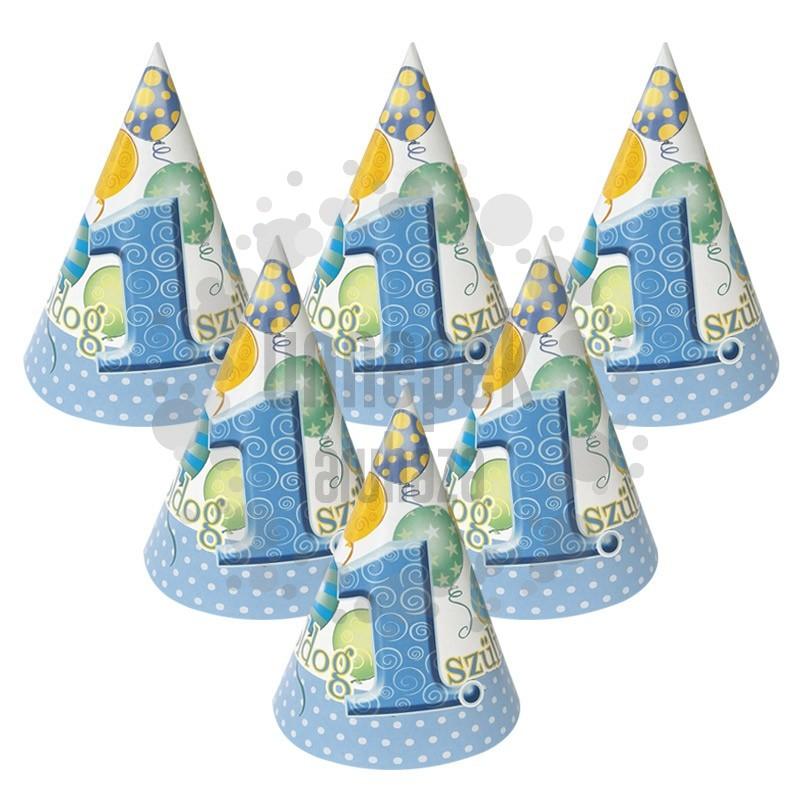 Boldog 1. Szülinapot! Léggömbös Kék Fiús Parti Csákó - 6 db-os