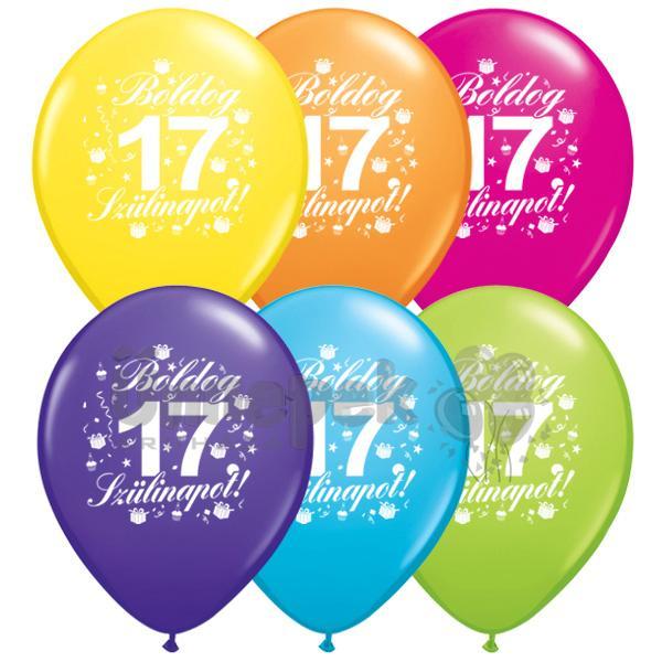 boldog 17 születésnapot Boldog 17. Szülinapot feliratú Színes Lufi, 28 cm, 6 db boldog 17 születésnapot