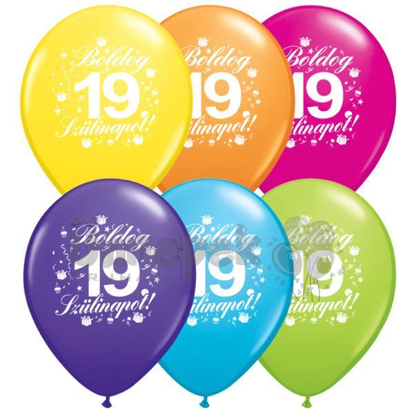 boldog 19 születésnapot Boldog 19. Szülinapot feliratú Színes Lufi, 28 cm, 6 db boldog 19 születésnapot