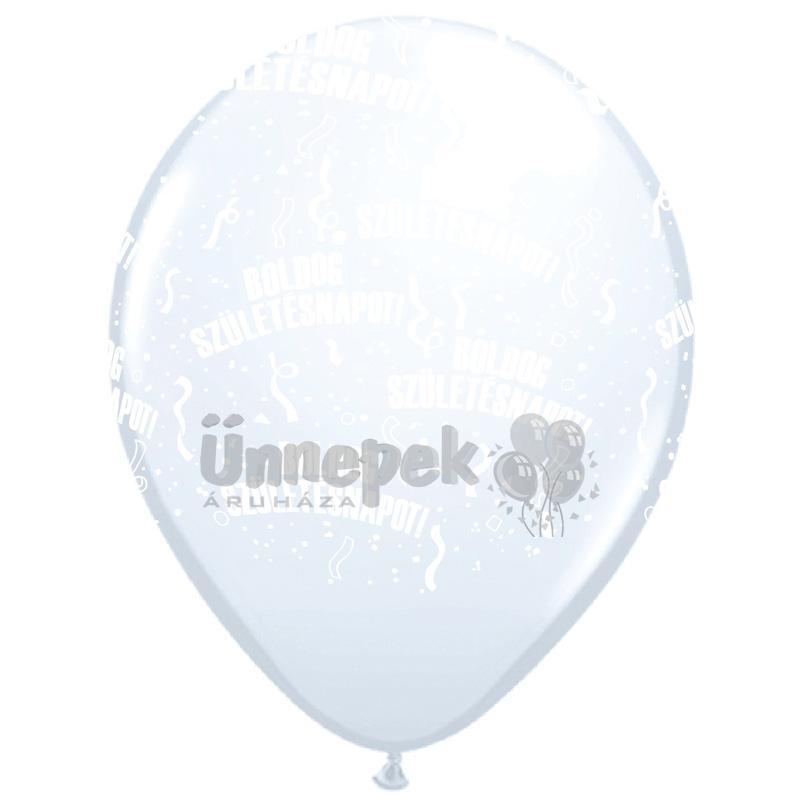11 inch-es Boldog Születésnapot White Lufi (25 db/csomag)