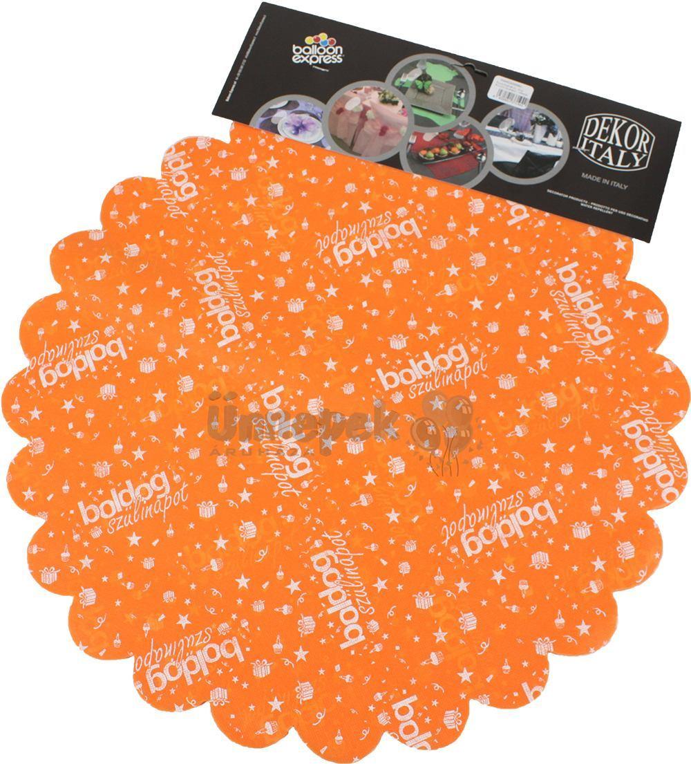 Boldog Szülinapot Feliratú Narancssárga Szülinapi Kerek Dekorációs Textil - 48 cm-es,