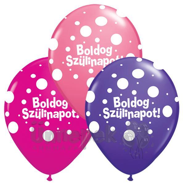 16 inch-es Boldog Szülinapot Big Polka Dots Lufi Lányos Színekben (25 db/csomag)