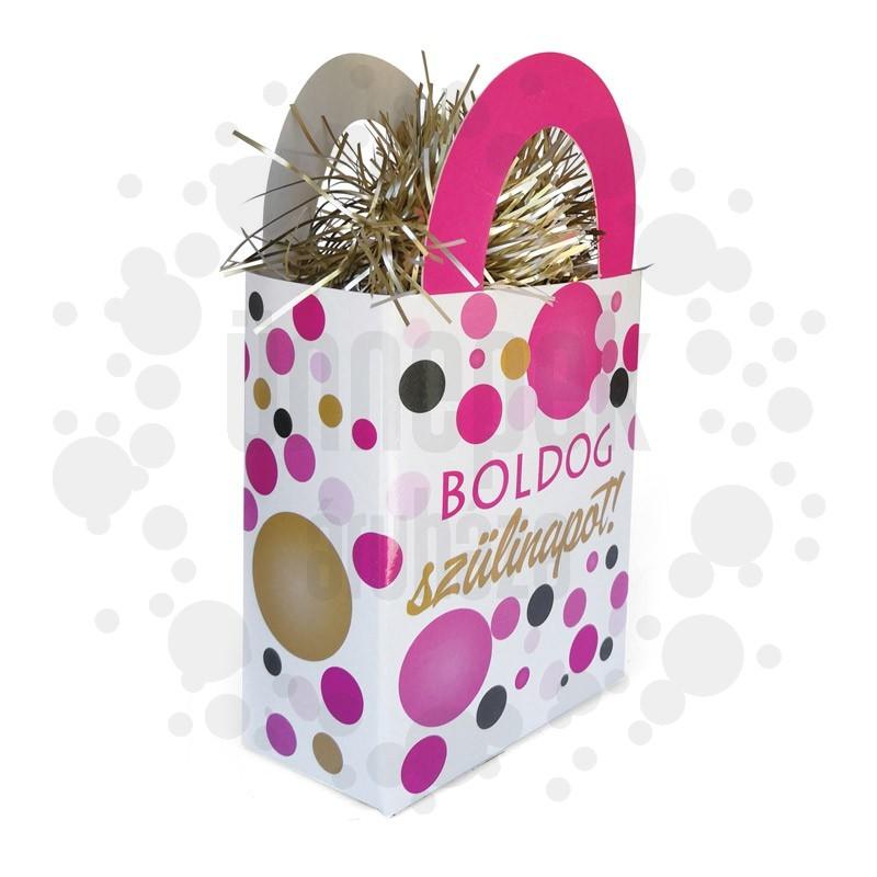 Boldog Szülinapot! Rózsaszín Pasztell Konfettis Ajándéktasak Léggömbsúly - 120 gramm