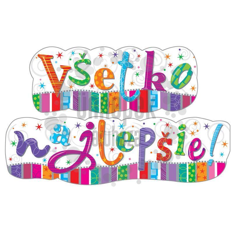 Vsetko Najlepsie! - Boldog Szülinapot Szlovák Radiant Banner - 148 cm x 27 cm