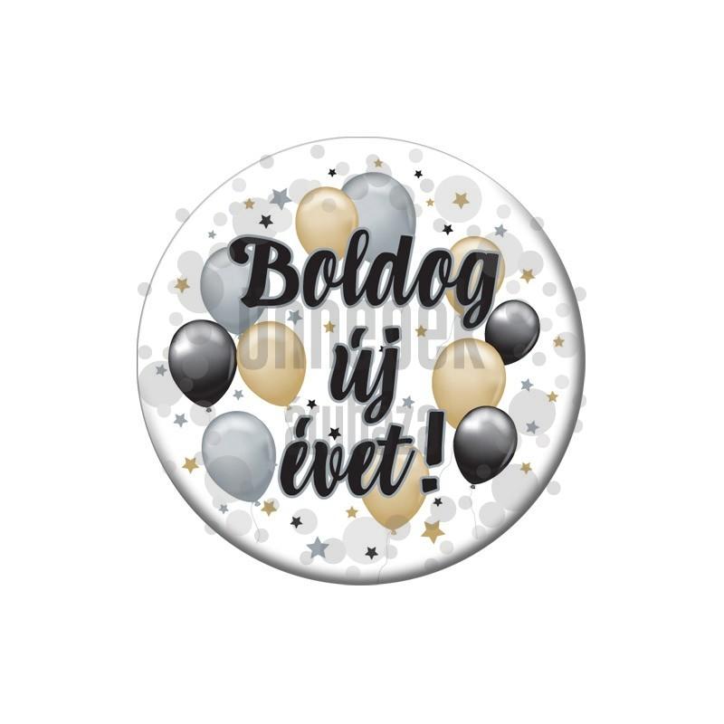 Boldog új évet! Elegáns Léggömbös Szilveszteri Parti Kitűző - 5,5 cm
