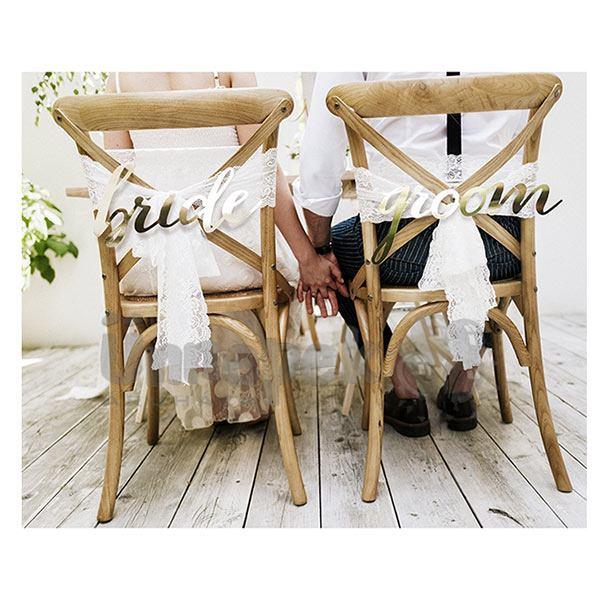 Bride és Groom Arany Felirat Dekorációs Szett