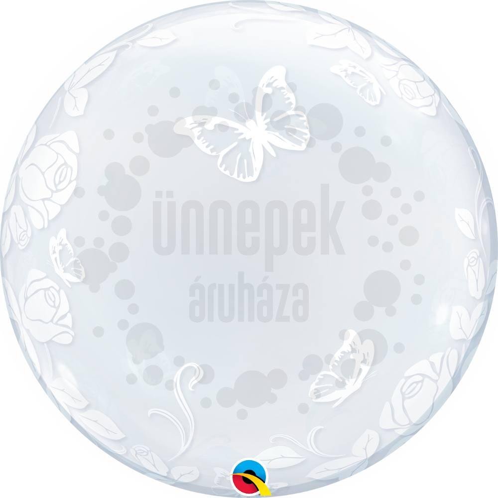 24 inch-es Elegant Roses and Butterflies - Rózsás és Lepkés Héliumos Deco Bubble Lufi
