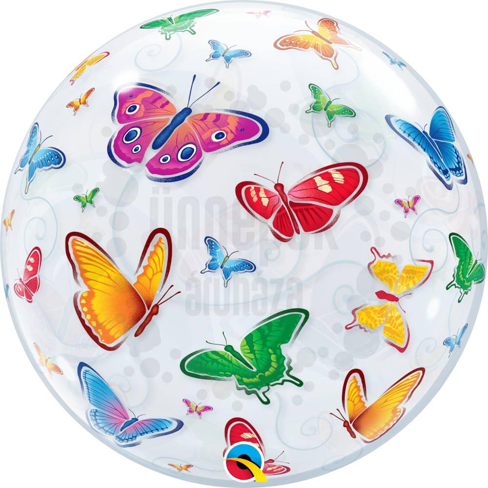 22 inch-es Pillangó Mintás - Butterflies Héliumos Bubble Lufi
