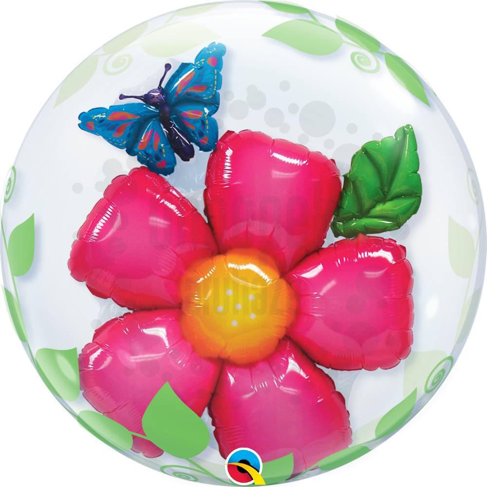 24 inch-es Virág - Leaves Flower Héliumos Double Bubble Lufi