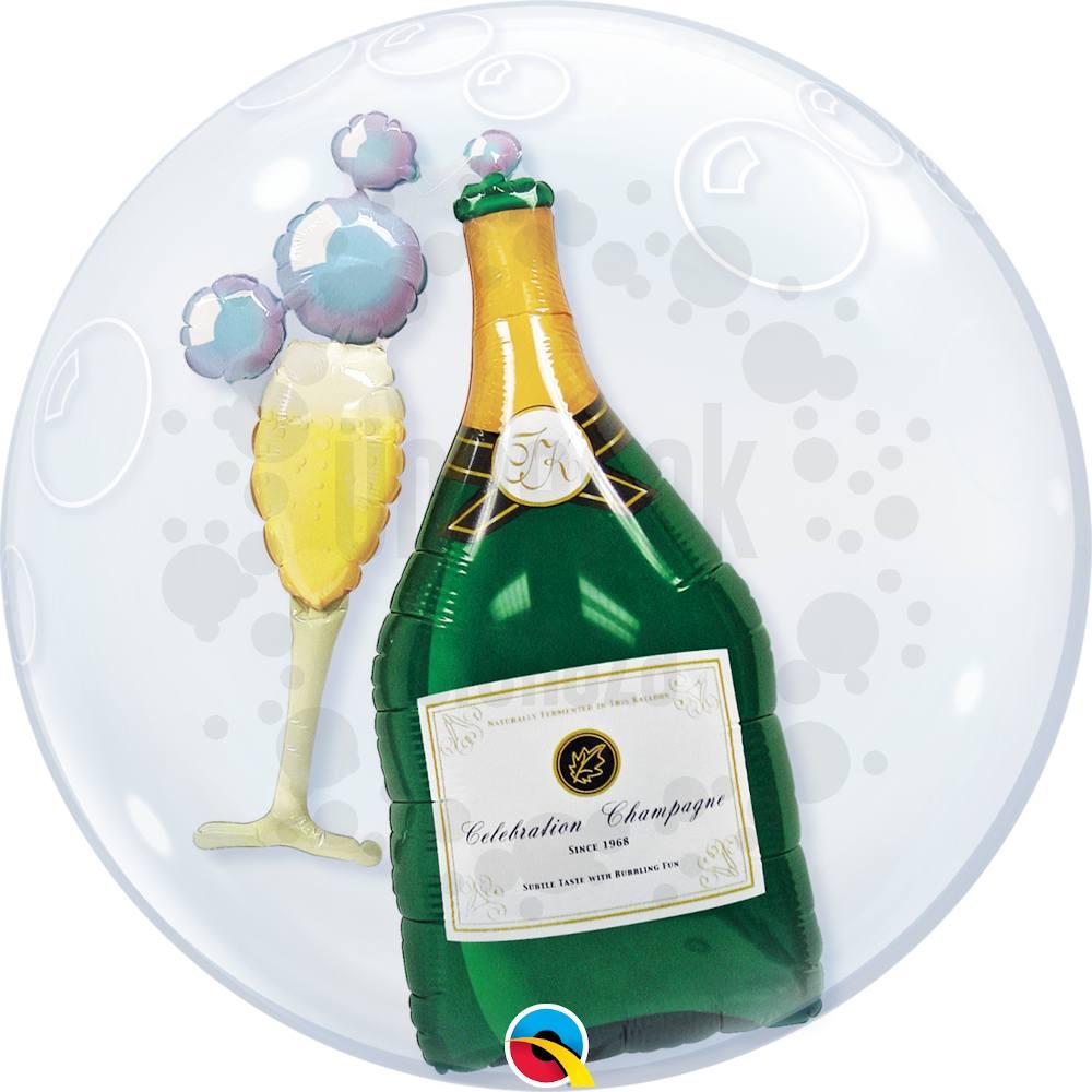 24 inch-es Pezsgősüveg és Pohár - Bubbles Champagne Héliumos Double Bubble Lufi
