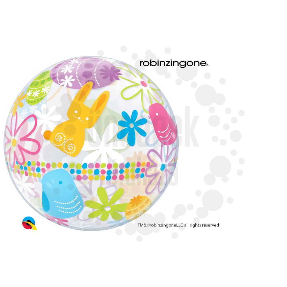 22 inch-es Spring Bunnies & Flowers Húsvéti Héliumos Bubble Lufi