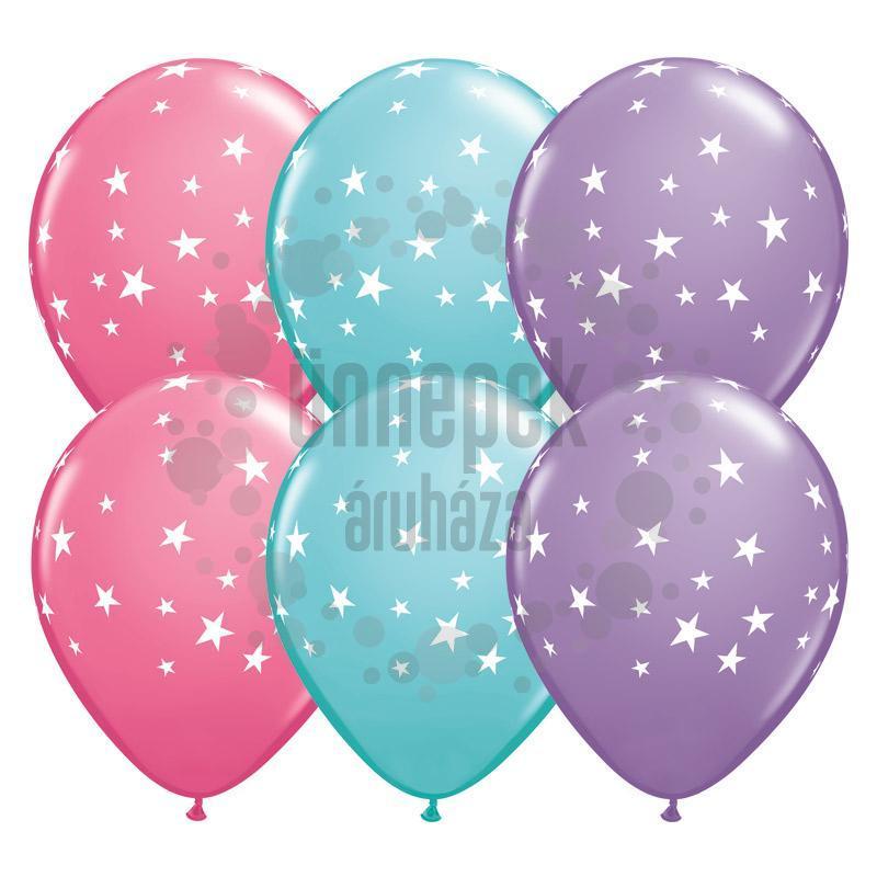 11 inch-es Csillag Mintás - Contempo Stars Special Assort. Kerek Lufi (25 db/csomag)