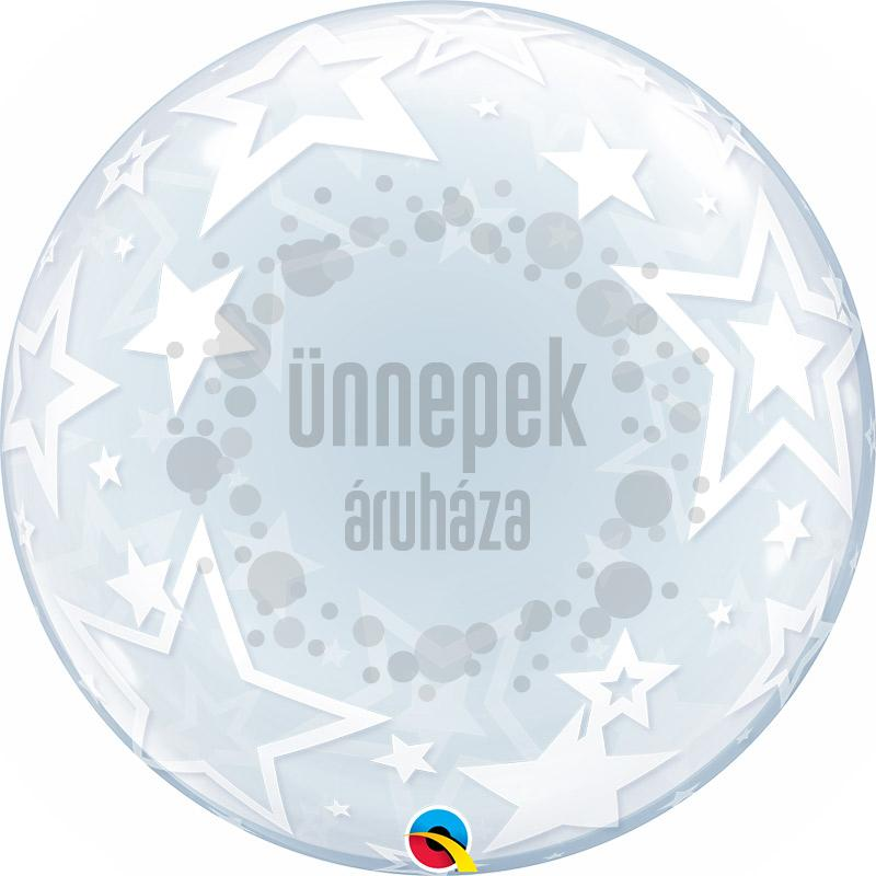 24 inch-es Stylish Stars - Csillag Deco Bubble Lufi
