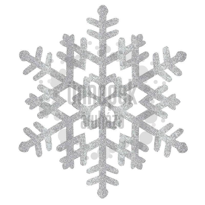 Csillogó Glitteres Hópehely Dekoráció - 33 cm x 37 cm