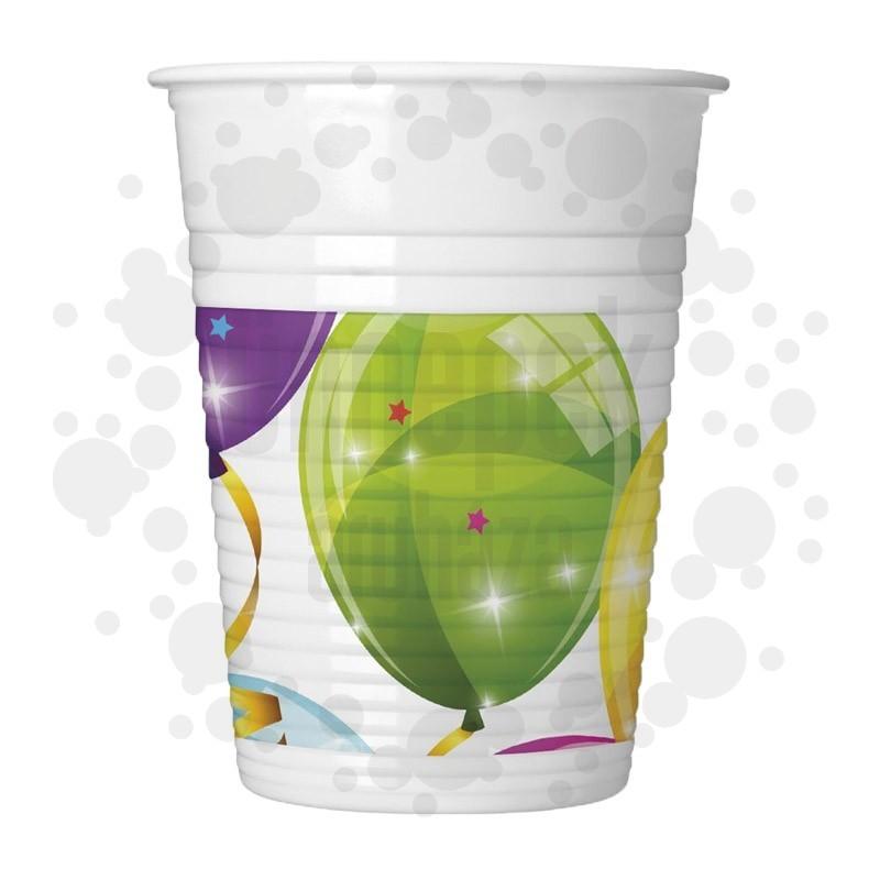 Csillogó Lufik - Sparkling Balloons Parti Pohár - 8 db-os, 200 ml