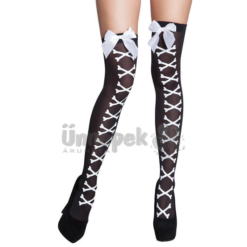 Csontokkal Díszített Fehér Masnis Fekete Combfix Halloween-re