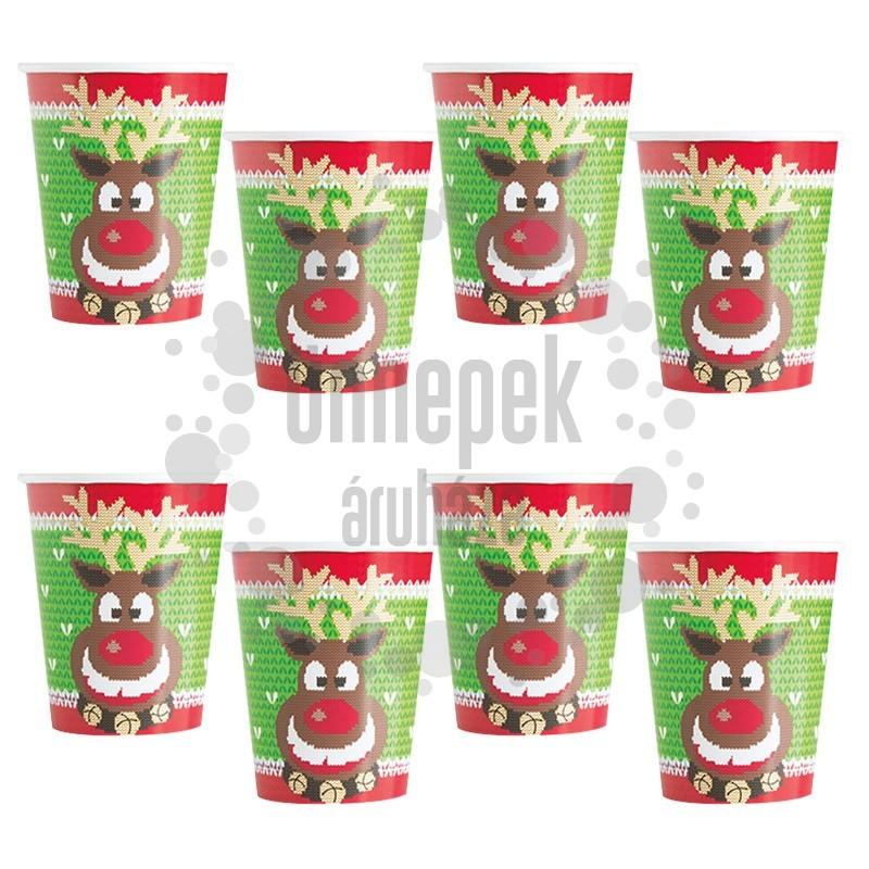 Csúnyapulcsi Mintás Karácsonyi Pohár - 270 ml, 8 db-os