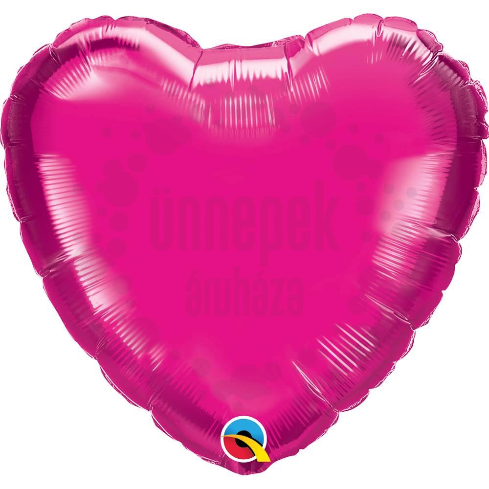 18 inch-es Sötét Rózsaszín - Magenta Szív Héliumos Fólia Lufi