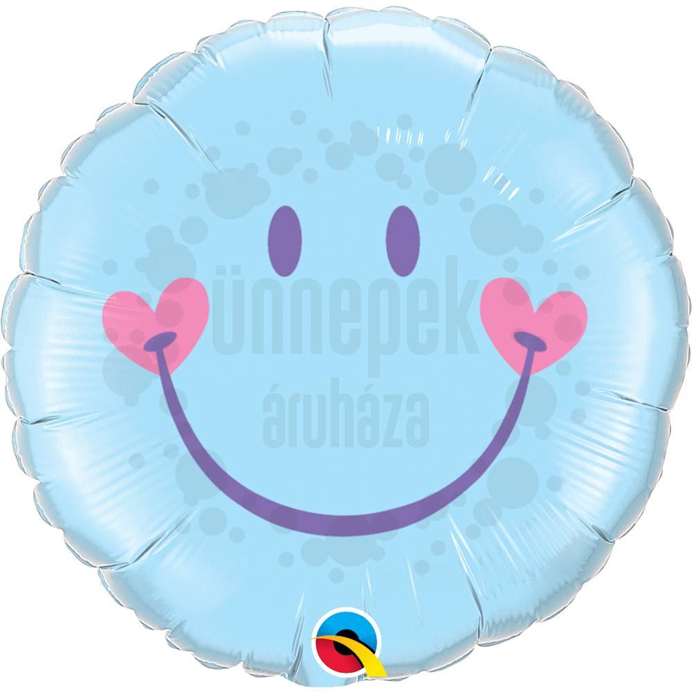 18 inch-es Mosolygó Arc, Fiú - Sweet Smile Face - Baby Pale Blue Héliumos Fólia Lufi