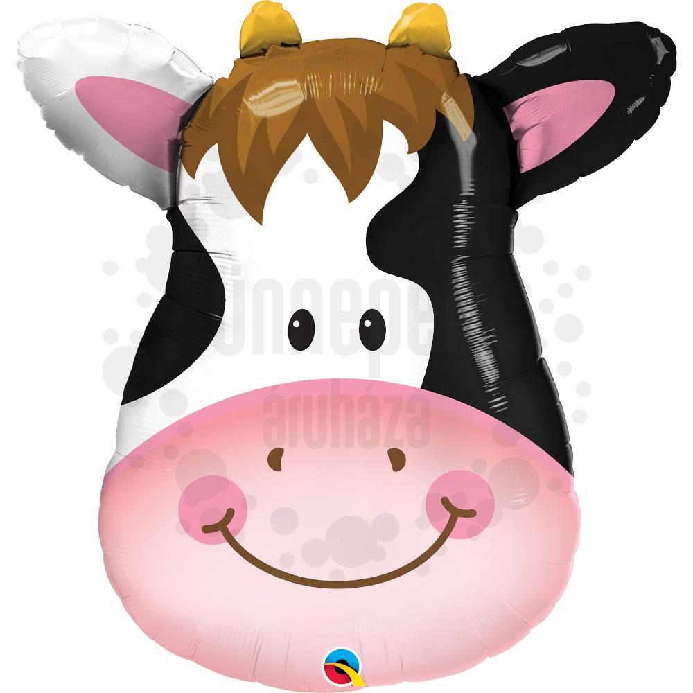 32 inch-es Mosolygó Tehén Fej - Contented Cow Héliumos Fólia Lufi