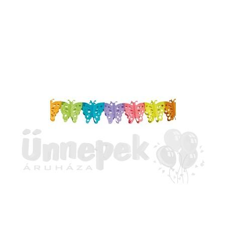 Pillangós Színes Dekorációs Parti Papír Füzér - 6 m