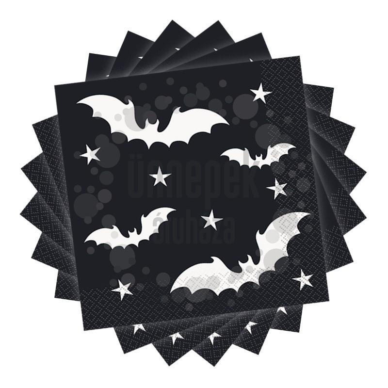 Denevér Mintás Fekete Szalvéta - 33 cm x 33 cm, 20 db-os