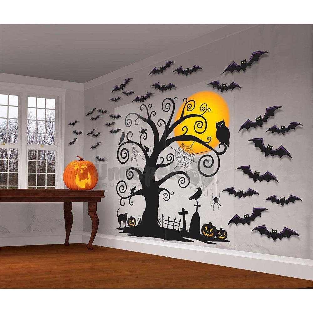 Éjszakai Sötét Temető Denevérekkel Szobadíszlet Szett Halloweenre - 32 db-os