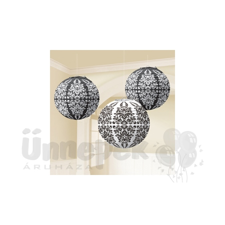 Fekete-Fehér Damask Inda Mintás Parti Gömb Lampion - 24 cm, 3 db-os