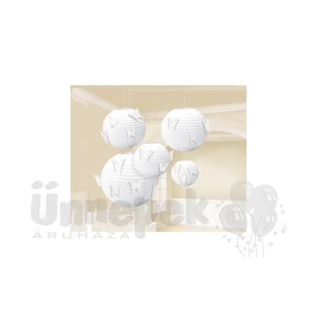 Fehér Színű Parti Gömb Lampion 24 db Pillangóval - 5 db-os